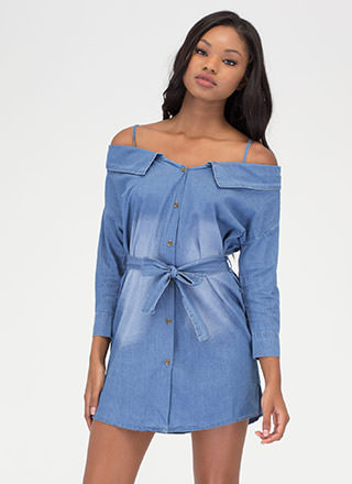 Casual Code Chambray Off-Shoulder Dress