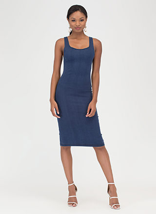 Keeping It Casual Denim Midi Dress
