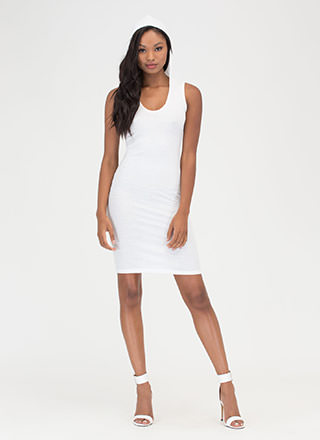 In The Hood Ribbed Midi Dress