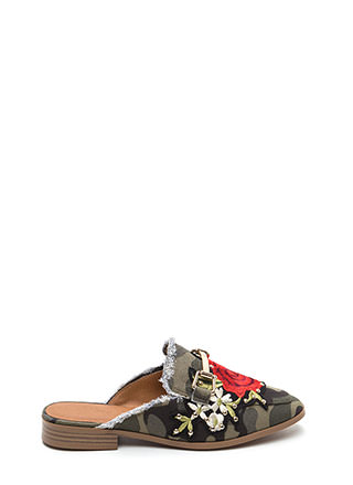 Floral Stud Fringed Camo Mule Flats
