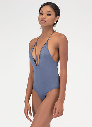 Downtown Nights Plunging Caged Bodysuit