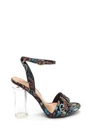 Round The World Embroidered Lucite Heels