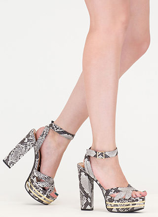 Parallel Bars Faux Snakeskin Platforms