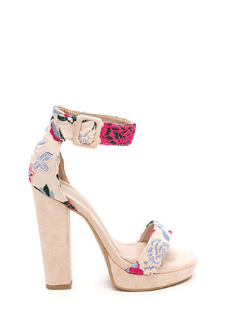 Buckled Beauty Chunky Embroidered Heels