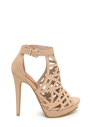 Caged Beauty Cut-Out Platform Heels