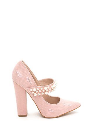 Mary Jane's Pearls Chunky Denim Pumps