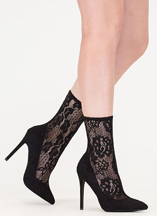 Lace The Game Sheer Pointy Booties