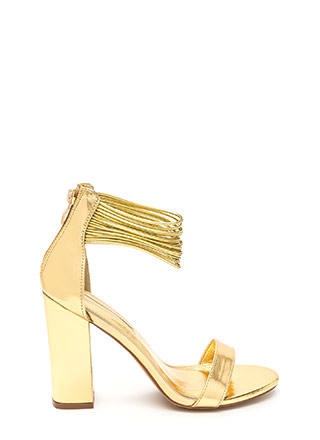 Cord Progression Chunky Metallic Heels