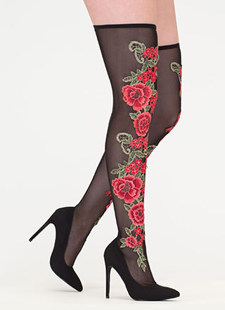Rosy Romance Sheer Thigh-High Boots