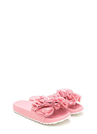Coming Up Rosettes Slide Sandals