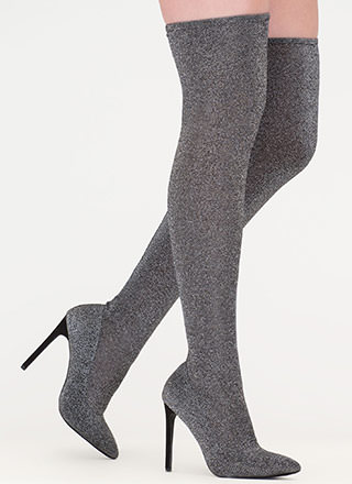 Glam Alter Ego Metallic Thigh-High Boots