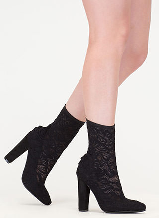 Lace Get It On Chunky Sheer Booties