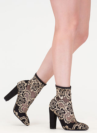 Lace Get It On Chunky Contrast Booties
