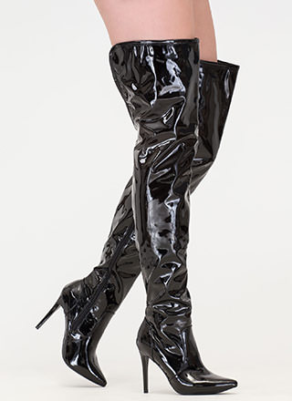 Stand Tall Faux Patent Thigh-High Boots