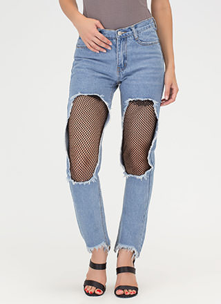 Net In Line Cut-Out Straight Leg Jeans