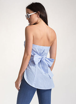 Bare In Mind Striped Tied Strapless Top