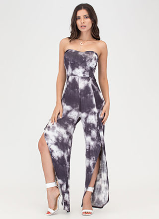Feeling Beachy Slit Strapless Jumpsuit