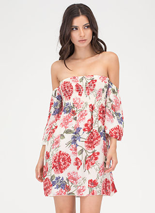 Lovely Blooms Off-Shoulder Mini Dress