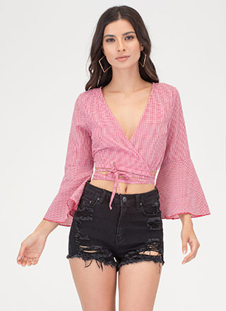 Picnic Perfect Tied Wrap Bell Sleeve Top