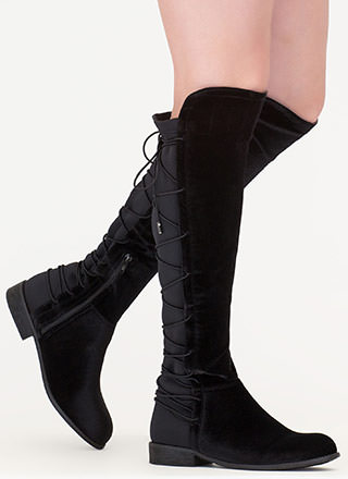 Lace-Back At It Velvet Riding Boots