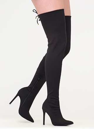 Point Blank Drawstring Thigh-High Boots