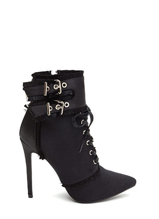 Mini Fringe Pointy Buckled Booties