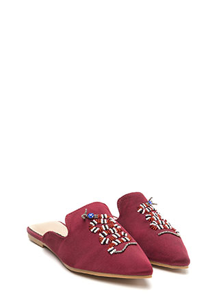 Snake A Look Pointy Beaded Satin Mules