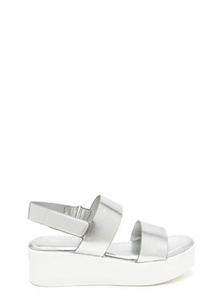 Double Up Metallic Platform Sandals