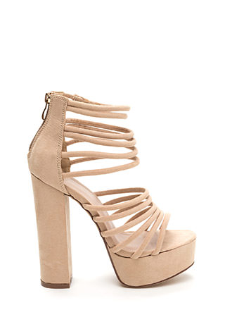 Stylish Climb Caged Faux Suede Heels