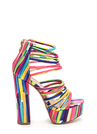 Stylish Climb Caged Printed Heels