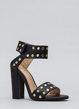 Front Row Stud Chunky Faux Leather Heels