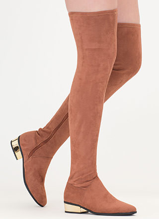 Gleam On Thigh-High Faux Suede Boots