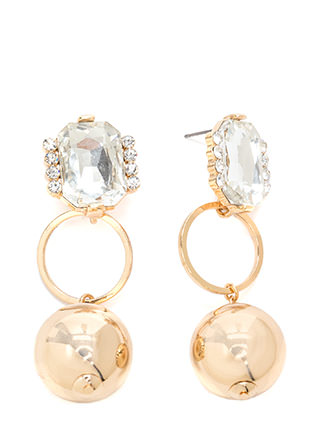 Three Times A Lady Jeweled Ball Earrings