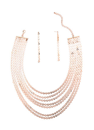 Simple Option Triangle Link Necklace Set