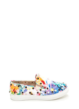 Bejeweled Beauty Floral Slip-On Sneakers