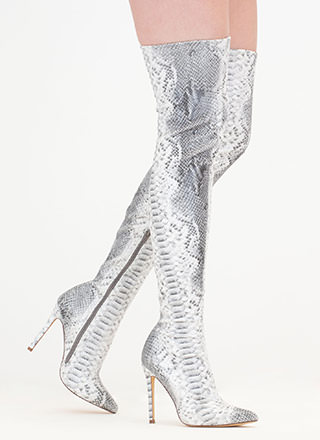 Long Story Snakeskin Thigh-High Boots