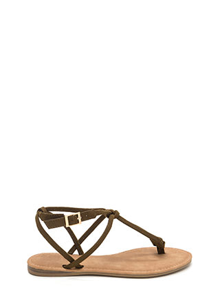 Knot To Worry Faux Suede T-Strap Sandals