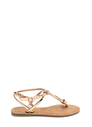 Knot To Worry Metallic T-Strap Sandals