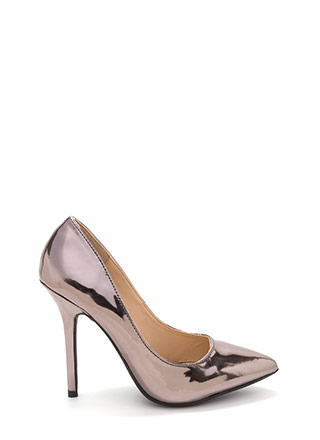Make A Point Metallic Stiletto Pumps
