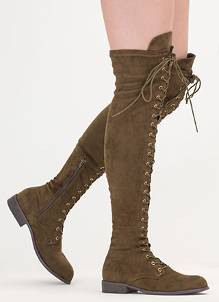 Stand Tall Lace-Up Thigh-High Boots