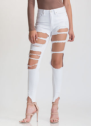 Ripped To Shreds Cut-Out Skinny Jeans