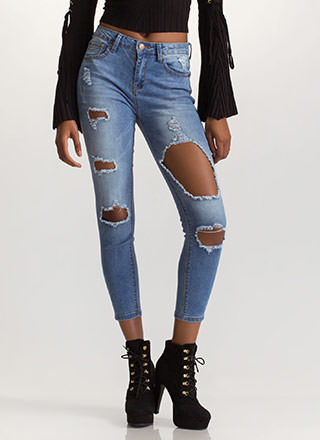 Shred-y To Rock Cut-Out Skinny Jeans