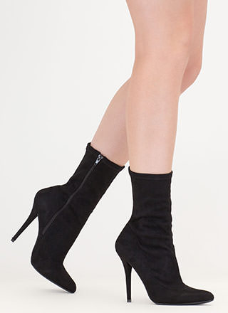 Stylish Point Faux Suede Booties
