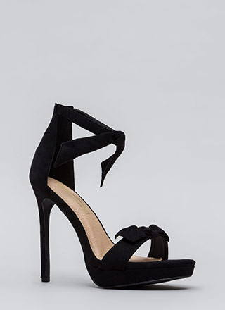 Tie And Tie Again Faux Suede Heels