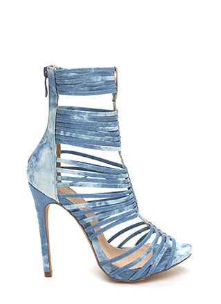 Stack Up To Be Denim Gladiator Heels