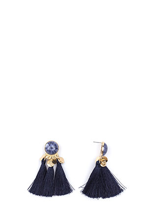 Taste For Tassels Faux Stone Earrings