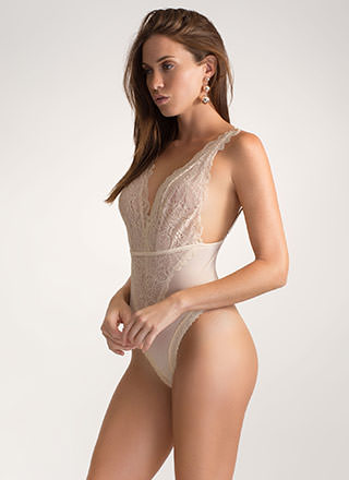 Delicate Subject Plunging Lace Bodysuit