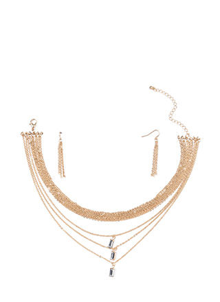 Triple Time Jeweled Layered Necklace