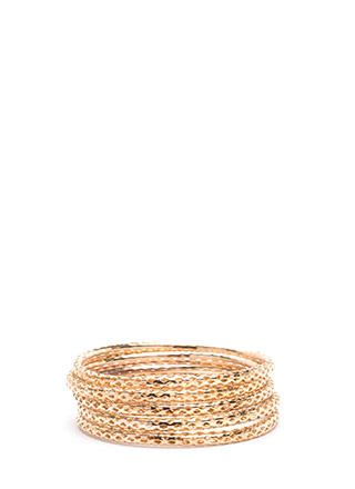 Stack To Business Perforated Bangle Set