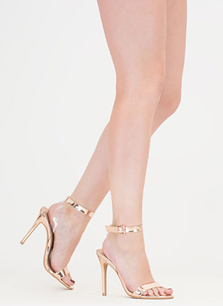 Clear Day Metallic Faux Patent Heels